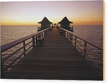 The Naples Pier At Twilight - 01 Wood Print by Robb Stan
