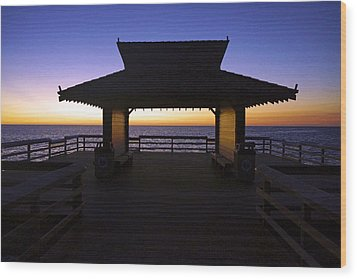 The Naples Pier At Twilight - 02 Wood Print by Robb Stan