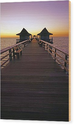 The Naples Pier At Twilight Wood Print by Robb Stan