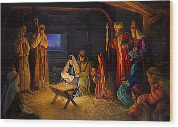 Wood Print featuring the painting The Nativity by Greg Olsen