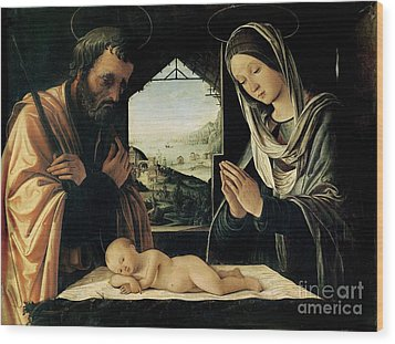The Nativity Wood Print by Lorenzo Costa