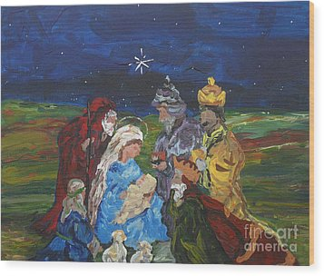 The Nativity Wood Print by Reina Resto
