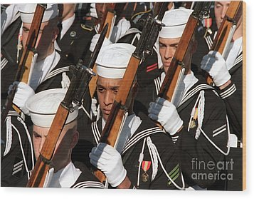 The Navy Ceremonial Honor Guard Wood Print by Stocktrek Images