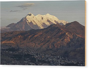 The Nevado Illimani And The South City Of La Paz. Republic Of Bolivia. Wood Print by Eric Bauer