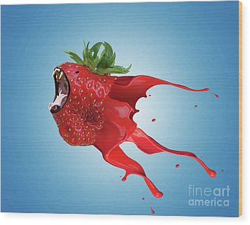 Wood Print featuring the photograph The New Gmo Strawberry by Juli Scalzi