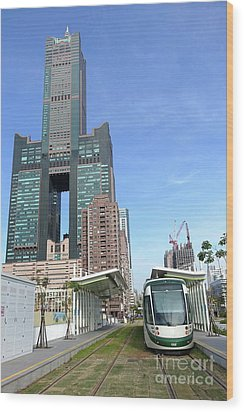 Wood Print featuring the photograph The New Kaohsiung Light Rail Train by Yali Shi