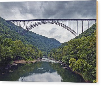 The New River Gorge Bridge In West Virginia Wood Print by Brendan Reals