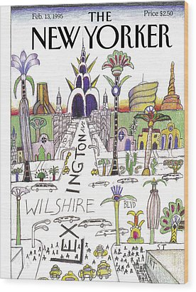 The New Yorker Cover - February 13th, 1995 Wood Print by Saul Steinberg