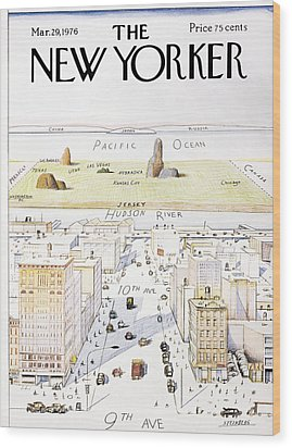 View From 9th Avenue Wood Print by Saul Steinberg