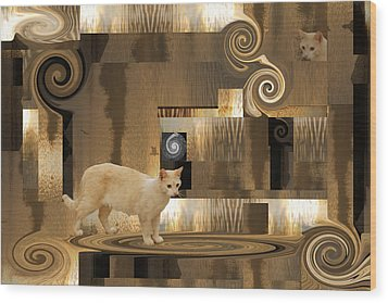 The Next Step - Cat In Abstract Wood Print