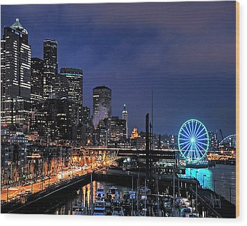 The Night Before Super Bowl Xlix, 2014, Seattle Waterfront Wood Print
