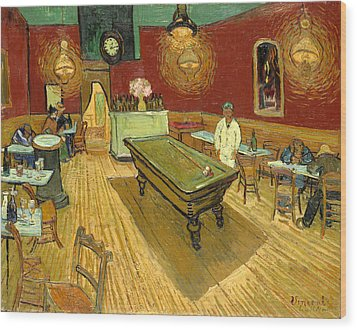 The Night Cafe Auto Contrasted Wood Print
