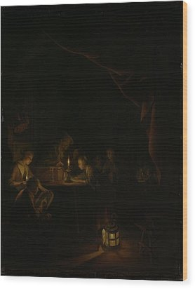 The Night School Wood Print by Gerard Dou