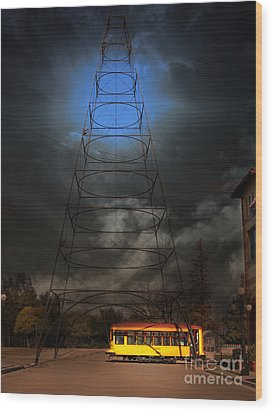 The Night The Old San Jose Railroads Cablecar Trolley 143 Reappeared . 7d12959 Wood Print by Wingsdomain Art and Photography