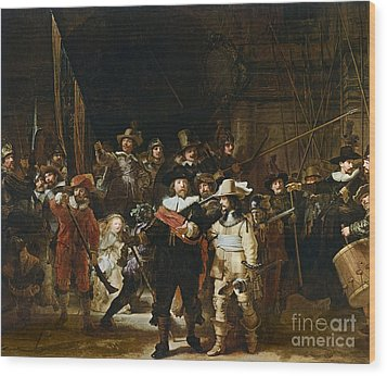 The Nightwatch Wood Print by Rembrandt