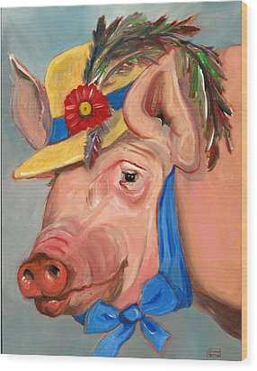 Wood Print featuring the painting The Noble Pig by Susan Thomas