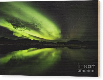 The Northern Lights Thingvellir Wood Print
