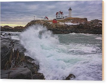 Wood Print featuring the photograph The Nubble After A Storm by Rick Berk