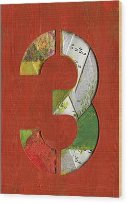 The Number 3 Wood Print
