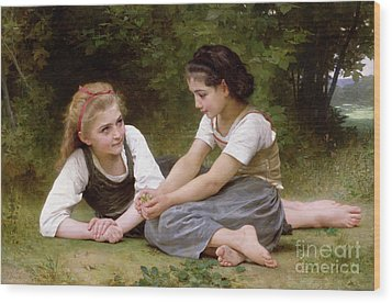 The Nut Gatherers Wood Print by William-Adolphe Bouguereau