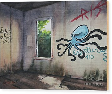 The Octopus's Garden Wood Print