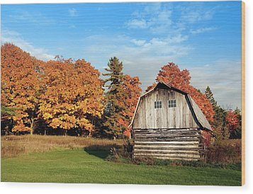 Wood Print featuring the photograph The Old Barn In Autumn by Heidi Hermes