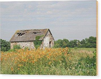 The Old Barn In Moorestown Wood Print by Jan Daniels