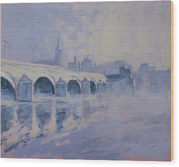 The Old Bridge Of Maastricht In Morning Fog Wood Print by Nop Briex