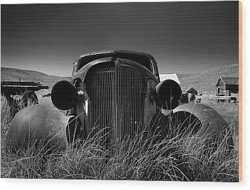 The Old Buick Wood Print by Marius Sipa