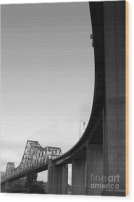 The Old Carquinez Bridge . Black And White . 7d8832 Wood Print by Wingsdomain Art and Photography