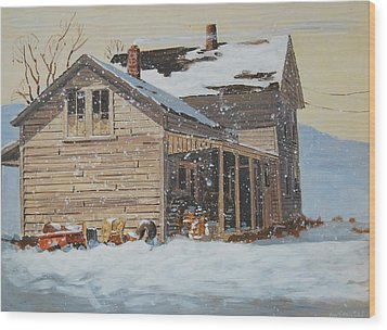 the Old Farm House Wood Print