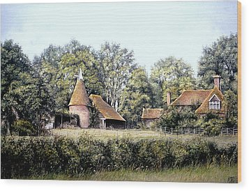 Wood Print featuring the painting The Old Farm by Rosemary Colyer
