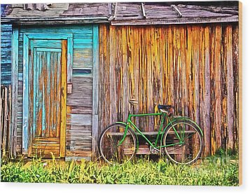Wood Print featuring the painting The Old Green Bicycle by Edward Fielding
