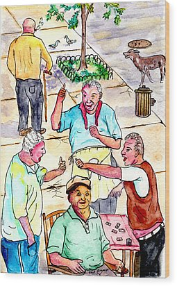 The Old Italian Men Up The Block Wood Print
