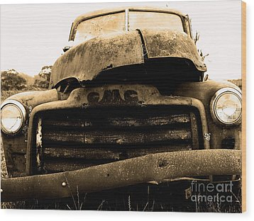 The Old Jalopy . 7d8396 Wood Print by Wingsdomain Art and Photography