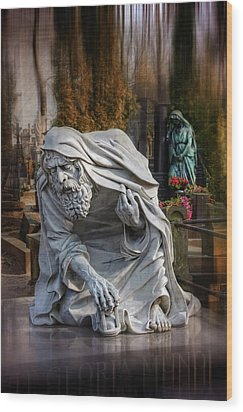 Wood Print featuring the photograph The Old Man Of Powazki Cemetery Warsaw  by Carol Japp