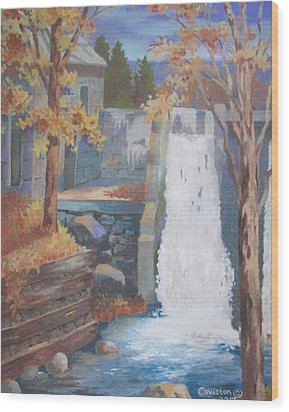 Wood Print featuring the painting The Old Mill Falls by Tony Caviston