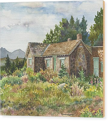 Wood Print featuring the painting The Old Moore House At Caribou Ranch by Anne Gifford