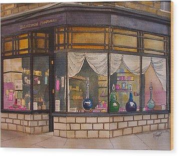 The Old Pharmacy Wood Print by Victoria Heryet