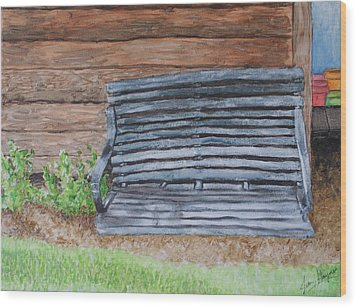 The Old Porch Swing Wood Print by Jean Haynes
