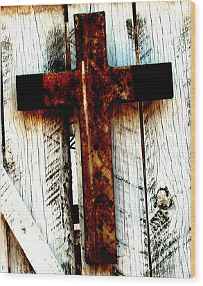 The Old Rusted Cross Wood Print