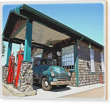 The Old Texaco Station Wood Print