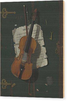 The Old Violin Wood Print by John Frederick Peto