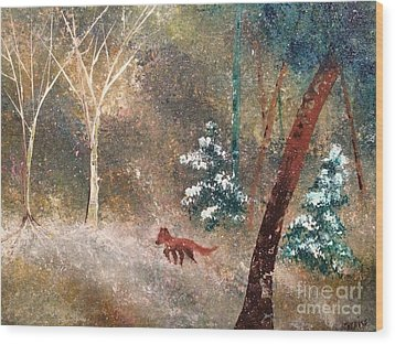 Wood Print featuring the painting The Onion Snow by Denise Tomasura