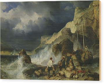 The Onslaught Of The Smugglers Wood Print by Louis Eugene Gabriel Isabey