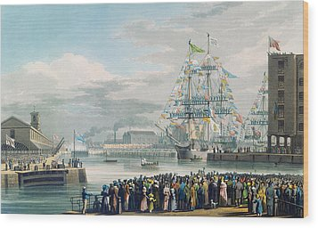 The Opening Of Saint Katharine Docks Wood Print by Edward Duncan