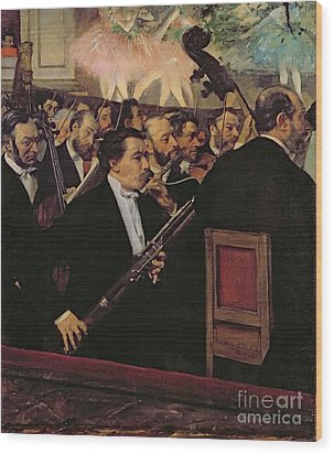 The Opera Orchestra Wood Print by Edgar Degas