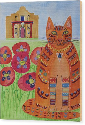the Orange Alamo Cat Wood Print
