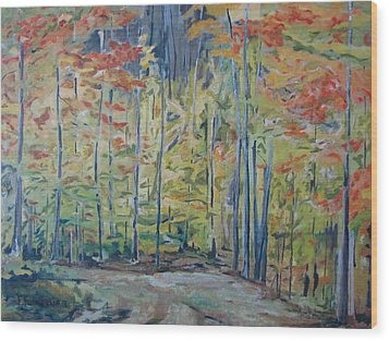 The Orange Maple Trees Wood Print by Francois Fournier