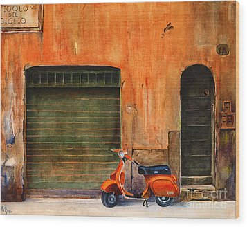 The Orange Vespa Wood Print by Karen Fleschler